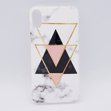 Voor IPhone X - hoes /cover -White marble triangels black & pink