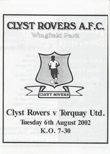 Clyst Rovers v  Torquay United  06-Aug-2002