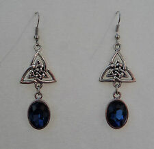 CELTIC KNOT DARK SILVER PLATED TRI EARRINGS WITH FACETED BLUE GLASS CRYSTAL OVAL