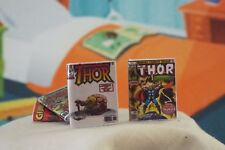 2 Miniature Vintage ' Thor ' comics - Dollhouse 1:12 scale Opening With Pages