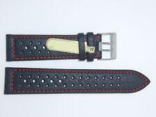 DI-Modell Waterproof perforated 22 mm BLACK red Watch Band Strap RALLYE WAPRO