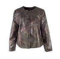 Isabella Women Blazer Plus 14W Brown Animal Print Iridescent Suit Jacket $89 New