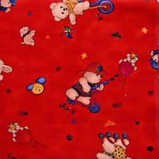 Corduroy Fabric Cheri Strole Jelly Bean Junction Teddy Bears Red 2.5 Yards X 44""