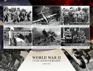 St. Vincent 2017 - 75th Anniv. World War II, Military, WWII - Sheet of 6 - MNH