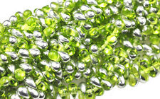 100 Olivine Silver AB Glass Tear Drop Beads 6MM