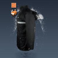 Black Parka Jacket Visibility Security Work Waterproof Coat Hi Viz Raincoat New