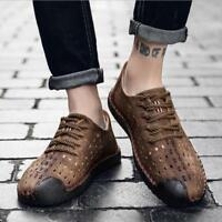 Chic Mens Retro Leather Fashion Casual Shoes Hollow Out Breathable Causal Shoes