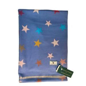 HOUSE OF TWEED LIGHT BLUE MULTICOLOUR STAR DESIGN SCARF HOT2405