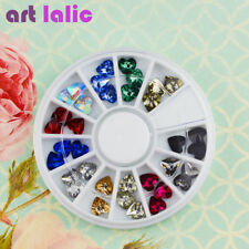 1 Wheel 3D Heart Shape Crystal Rhinestones Glitter Gem Nail Art Polish Tips