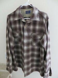 Pendleton wool shirt brown/white plaid Large