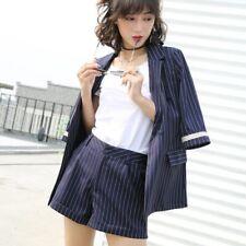 Office Women Solid Striped Short Pant Suit Mid Sleeve 2 Piece Set Jacket Blazer