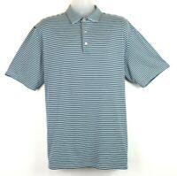 Peter Millar Summer Comfort Blue and White Striped Men's Polo Golf Shirt Size XL