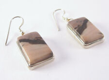Jasper Dangle Earrings .925 Sterling Silver Brown Purple Banded Stone Jewelry