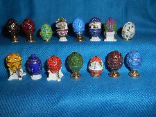 Minature FABERGE EGGS Set 15 Mini FRENCH Porcelain Tiny Epiphany FEVES