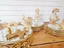 "Three 3 Stacking Ornate Gold Pedestal Vanity Display Mirrors 6"" 8"" 10"" SWEET SET"
