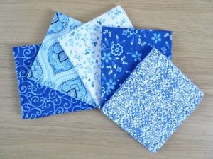 5 FAT QUARTER BUNDLE 100% COTTON PATCHWORK CRAFT FABRIC ~ DELFT BLUE