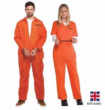 ADULT ORANGE PRISONER OVERALL Fancy Dress Costume Stag Night Party Halloween UK