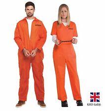 ADULT ORANGE PRISONER OVERALL Fancy Dress Costume Stag Night Party Halloween UK