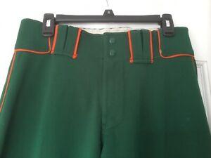 Men's Boombah Baseball Pants-(M) green w/Orange stripe-Great Shape-Ships SameDay