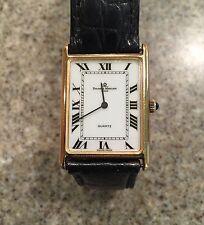 Rare Baume & Mercier Classic 90's 14 K Yellow Gold Rectangle Dial Quartz Watch