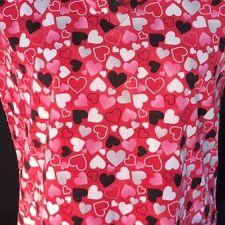 SB Scrubs Hearts Love cotton SMALL Slant pockets NO side Vents Short Slv