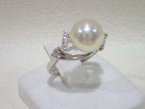 MIKIMOTO platinum akoya pearl 9.4 mm ring with diamonds size 5