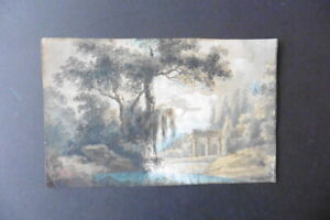 FRENCH SCHOOL 1797 - LANDSCAPE WITH CLASSICAL RUINS - SIGNED  WATERCOLOR