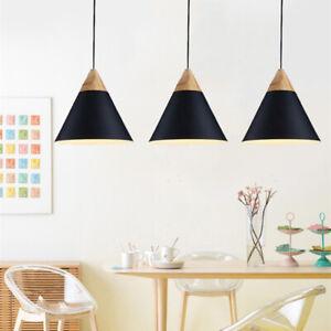 3X Black Pendant Light Wood Ceiling Lamp Modern Lights Bar Chandelier Lighting