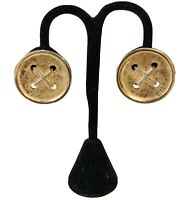 Accessocraft Gold Silver Tone Rope Classic Button Earrings Clip On High End