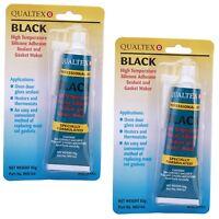 2 x Oven Glass Door Glue High Temperature Heat Resistant Silicone Adhesive Black