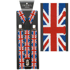NEW Hobo Union Jack England UK Flag Suspenders Stylish Punk
