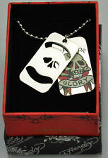 Authentic Ed Hardy Death or Glory Double Dog Tag skull design nice