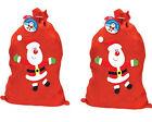 2 xFather Christmas Xmas Present Gift Kids Family Santa Sack Stocking Filler Bag