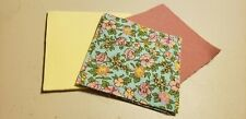 """30 4"""" Quilt Squares (new) YELLOW & PINK FLOWERS ON BLUE #1"""