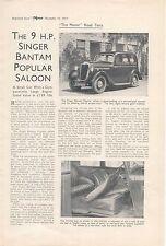 SINGER 9HP Bantam popolari Saloon Motore originale Prova su strada 1937