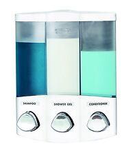 Euro Series TRIO Three Chamber Soap and Shower Dispenser, White, New