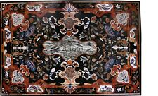 3'x2' Black Marble Dining Table Top Pietra Dura Inlaid Work Garden Decorate B579