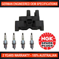 4x Genuine NGK Spark Plugs & 1x Ignition Coil Pack for Mazda Mazda 2 DY