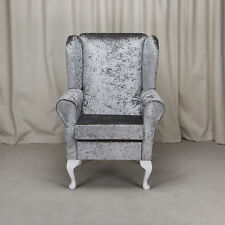 Wingback Fireside Chair in a Bling Pewter Fabric - Free UK Mainland Delivery