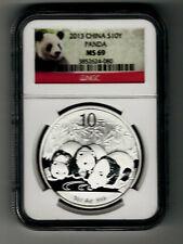 2013 NGC MS69 S10Y China Panda 1 oz. Silver Coin