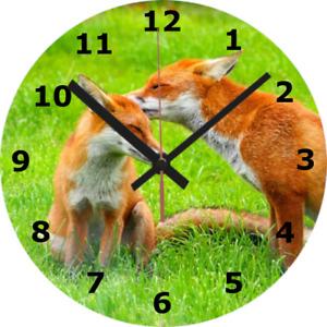 WALL CLOCK FOX 25cm Animal Wildlife Nature Dog Love Cute Home Decor diy 1036