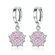 925 Sterling Silver Earrings Pink Crystal Flower Style Women Jewellery Xmas Gift