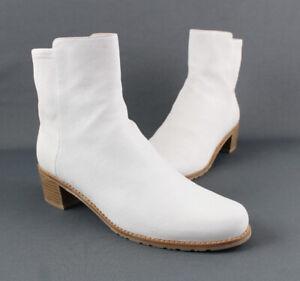 Stuart Weitzman NWOB Ivory Leather Round Toe Ankle Boot Shoe Size 8