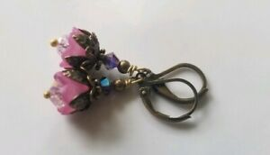 Tulip Earrings, Purple Dangle, petite Czech glass, crystals, bronze floral
