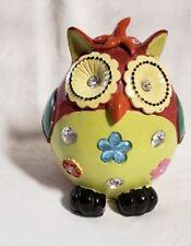 VINTAGE MULTI-COLOR CERAMIC OWL COIN BANK WITH RHINESTONES
