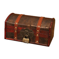 Vintage Style Wooden Treasure Chest Trinket Keepsake Password Lock Storage Case