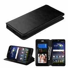 For ZTE Grand X 3 Z959 Leather Flip Wallet Case Cover Stand BLACK