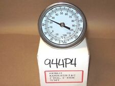 "THERMOMETER 3"" FACE 6"" STEM 0-250*F 1/2 NPT BACK <944P4"