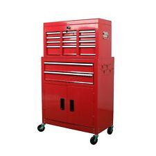 FoxHunter Metal Tool Box Chest Cabinet Storage Organizer Cart Garage Steel Red