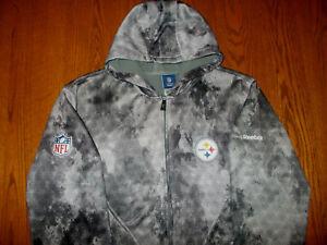 REEBOK NFL PITTSBURGH STEELERS FULL ZIP HOODED SWEATSHIRT JACKET MENS XL EXCELL.